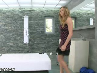 Lustful Blonde Babe Getting Fucking In The Shower