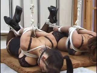 Two big-titty whores в немилост и ballgagged