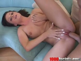 Bitchy Brunette IsaBella Dior Acquires A Watery Ooze Of Ball Cream On Her Face