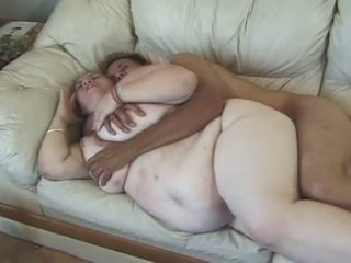 Porner Premium: Blonde fat slut fucked by a young dick on the coach