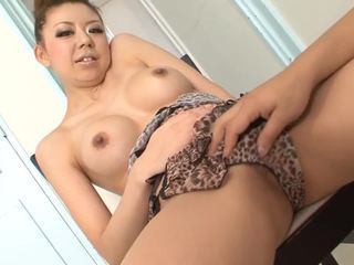 Busty asian BJ babe stimulated with toys