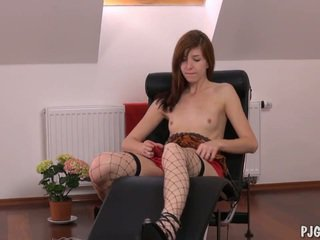 Edita's orgasms with a speculum in her vagina