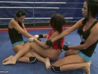 Emma Butt fighting with two girls