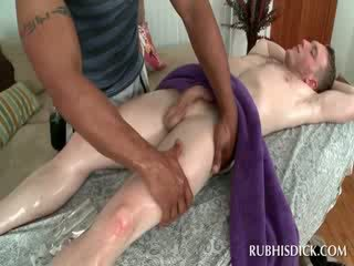 White gay getting body massage