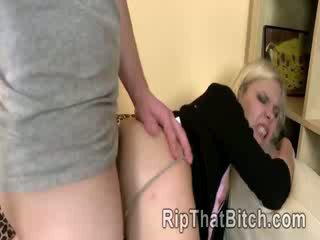 Beautiful blond model Besley Kite gets her tight anus reamed