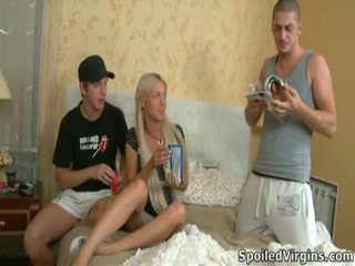 Threesome Defloration For Shy Sandra.