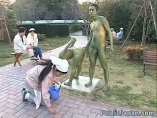 asian model is a statue getting some sex
