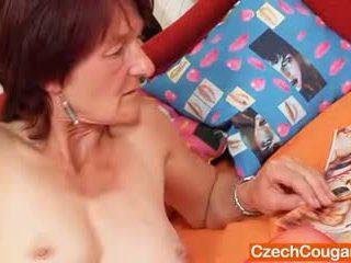 Plain gramma Matylda spreads and toys hirsute cunt