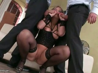 Beautiful blonde riding two cocks