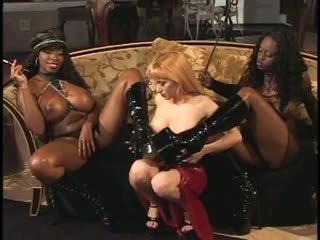 2 ebony mistresses teasing their slave