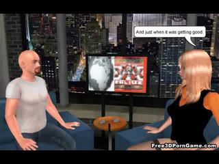 Foxy 3D cartoon blonde newscaster sucks on a cock