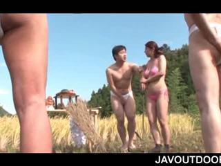 japanse, masturbatie, publiek, buiten-
