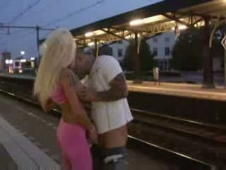 Public blowjob and sex at train station Video
