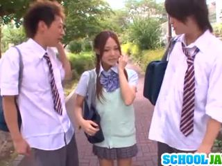 J Schoolgirls: Yukina sucks dicks and gets nailed in a threesome