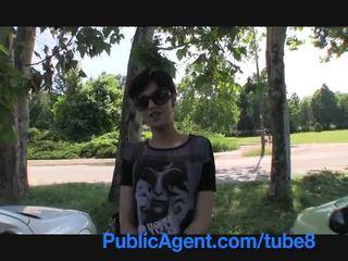 PublicAgent Short haired brunette backseat fucker