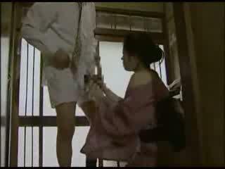 Japans huisvrouw in kimono geneukt video-