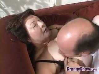 Large Grandma Pleasing Cock And Fucking