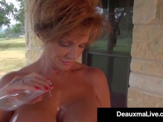 Busty Cougar Deauxma Oils up & Exercises Nude on Her...