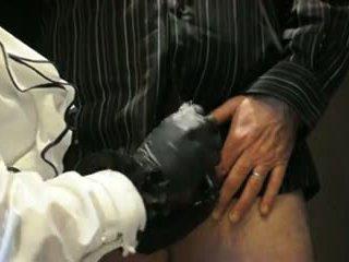 Mistress Hard Handjob with Leather Gloves