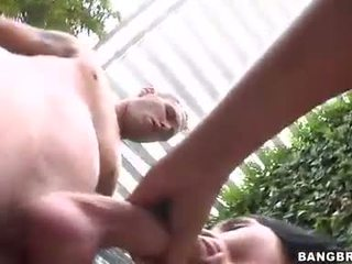 Horny blonde and dirty brunette fight over one stiff cannon in group sex