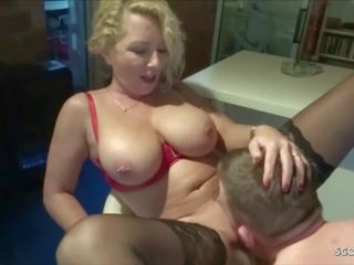 Saggy Tits Mother Bi Jenny Love to Fuck with Young Boy