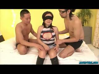 Rui Natsukawa bound in bondage ties and licked pussy by two
