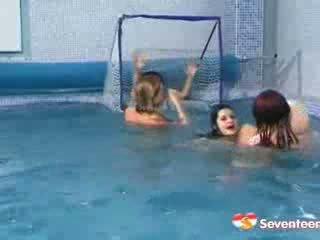 lesbisch, heet dildo, zwembad porno