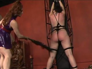 Hot Young Lesbian Restrains Her Slave Girl and Whips and