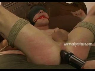 Hunk tied from bed naked in handjob