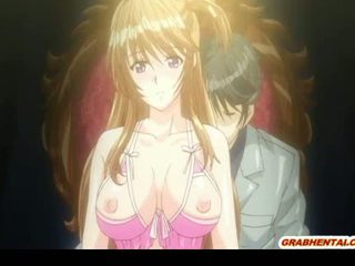 Giant boobs anime Japanese milking in the glass