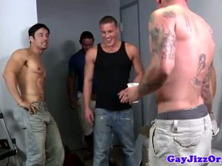 Muscular gay hunk sucking many cocks