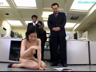 Office lady getting her pussy stimulated with vibrator finge