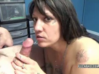 Chubby housewife Lexxi Meyers is swallowing a stiff cock