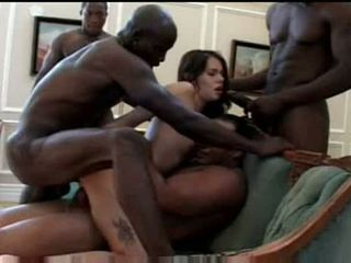 Lana got a hard interracial gangbang at big black pimp
