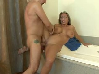 Juicy hot Amber Lynn Bach getting jizzed on her meaty round jugs