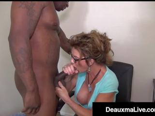Busty Texas Cougar Deauxma Sucks Big Black Cock for Tax