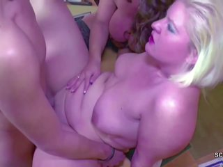 German MILF in Real 3some Female Casting with Young...