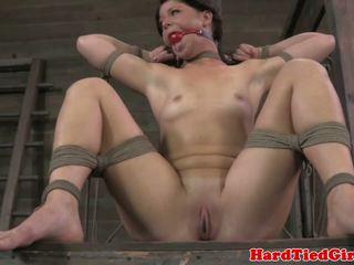 Ballgagged tied up bdsm sub whipped harshly