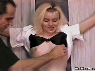 Sexy bitch gets hog tied and tittortured
