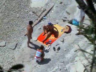 alle groepsseks, nieuw strand video-, groot tiener scène