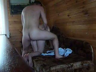 russian couple in sauna