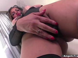 TS Fernanda Khelher jerks her shecock and fucks her ass using a toy