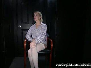 Gloryhole Secrets Blonde cutie sucks off 12 cocks part 1