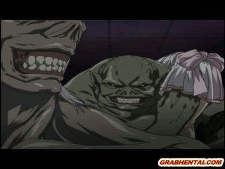 เฮนไท โดนจับได้ โดย tentacles และ monsters brutally ระยำ