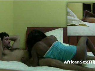 African whore gives interracial blowjob