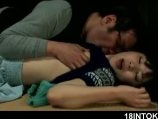 Mature Asian horny guy eating soft and wet teen snatch
