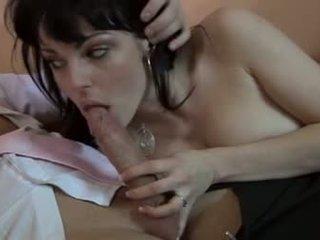 echt brunette, orale seks, controleren tieners scène