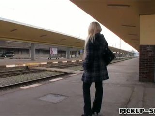 European babe Angel Wicky fucked in trains toilet for money
