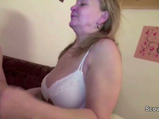 He Seduce Mom with Hairy Pussy to Fuck and Covered with