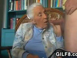 sanii mari, bunicuță, muie, atingere cu degetul